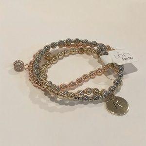 "NWT LOFT 3 pc Beaded Bracelet Set Initial ""K"""